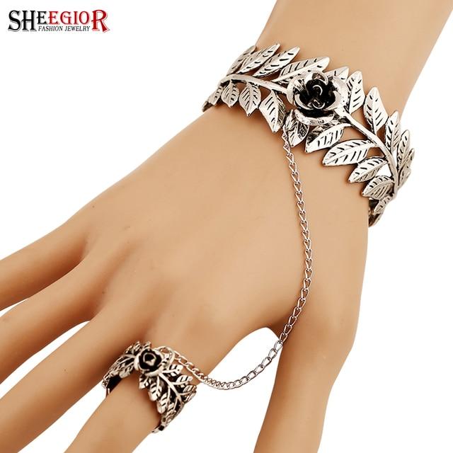 Sheegior Vintage Ethnic Silver Cuff Bracelet Hollow Leaf Rose Flower Charms Open Bracelets Bangles For Women