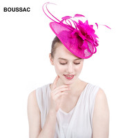 Hot Pink Top Quality Sinamay Accessory Hat Hair Band Fascinators Female Wedding Feather Flower Headwear Party Fascinator Chapeau