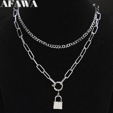 2019 Fashion Punk Lock Stainless Steel Necklace for Women Silver Color Layered Necklace Jewelry colgantes mujer moda N19171 цена