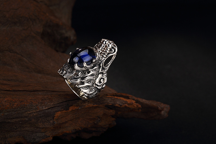 Uglyless Real S 925 Sterling Silver Natural Blue Chalcedony Men Rings Handmade Engraved Dragon Finger Ring Ancient Totem Jewelry