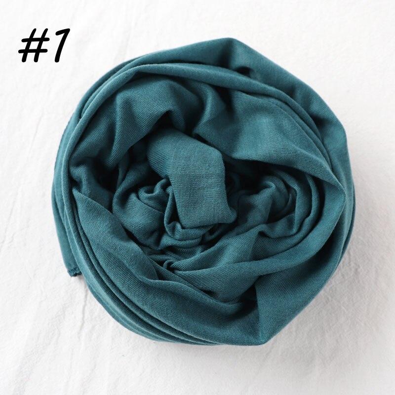 Один кусок Хиджаб Женский вискозный Джерси-шарф Мусульманский Исламский сплошной простой Джерси хиджабы Макси шарфы мягкие шали 70x160 см - Цвет: 1 teal