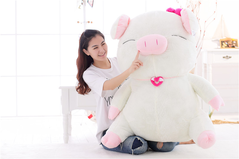 huge 100cm white pig plush toy cartoon pig doll sleeping pillow birthday gift Xmas gift d2223