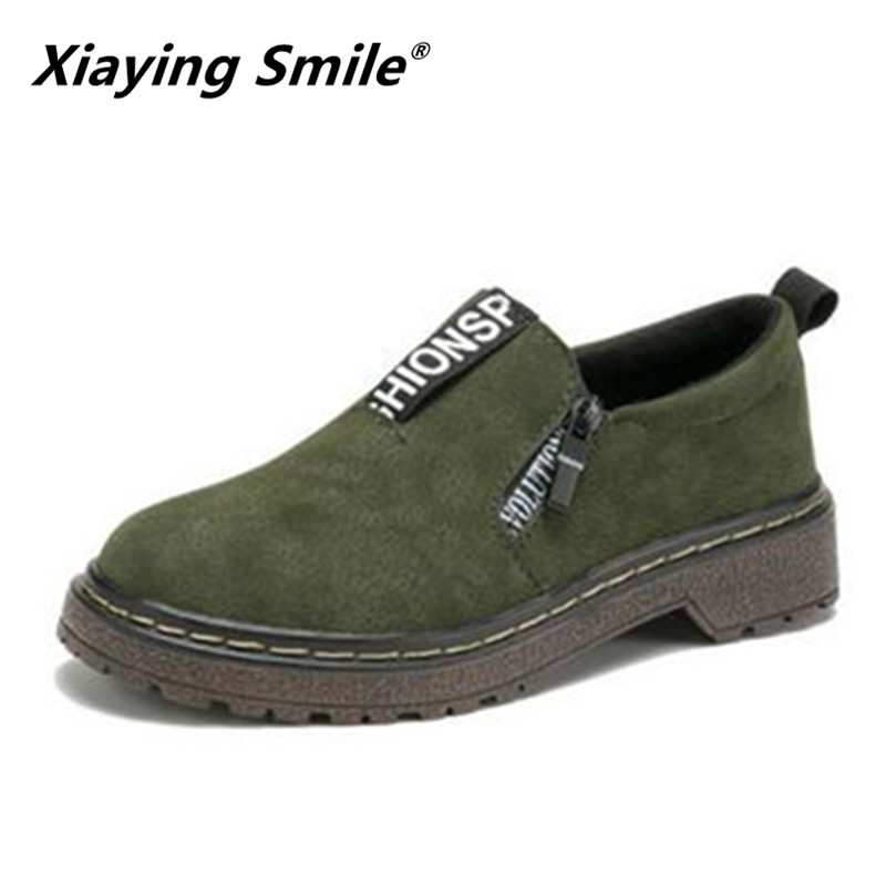 Xiaying smile 2018 Hot Sale Spring Autumn Round Toe Oxford Women Fashion Casual Loafers shoes Slip On Rubber Women Flats Shoes xiaying smile new spring autumn women pumps british style fashion casual lace shoes square heel pointed toe canvas rubber shoes