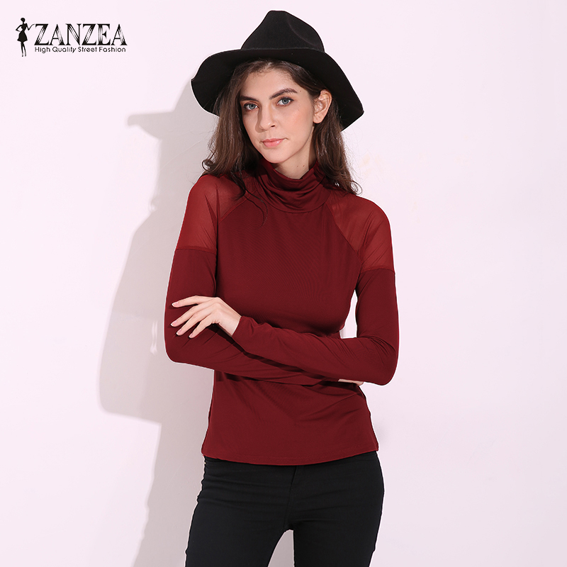ZANZEA Women   Blouses     Shirts   2019 Summer Autumn Turtleneck Long Sleeve Casual Tops Mesh Patchwork See Through Pullovers Plus Size