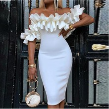 Women Ruffle Bodycon Dress Plunge Short Sleeve Mid Party Dress Off Shoulder Dresses Vestidos plunge open shoulder star print mini dress