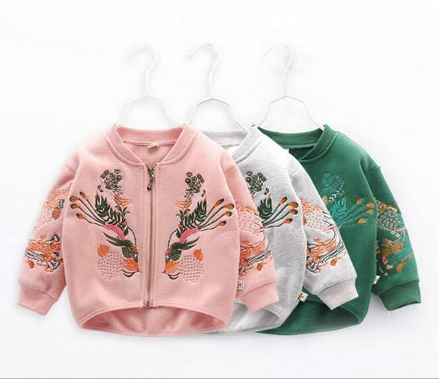 Vintage embroidery toddler baby girls spring fall jacket fashion children boy kids Korean casual outwear coat clothing