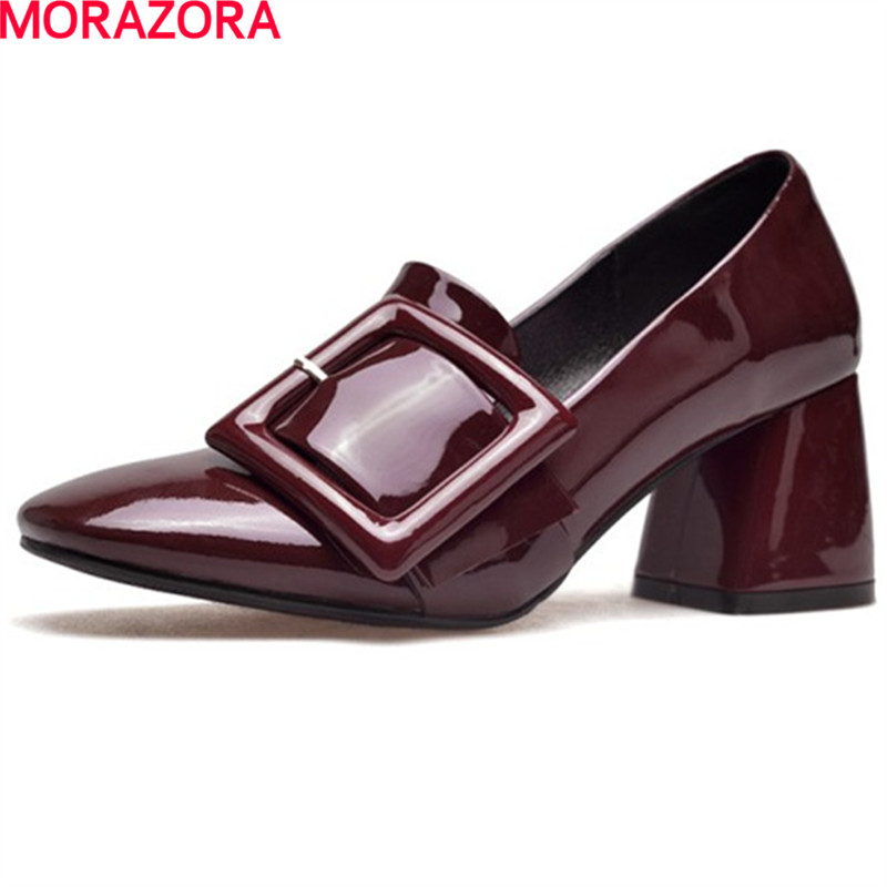 MORAZORA newest leisure buckle spring autumn women square toe solid color shoes high heeled fashion party shoes size 34-39 vallkin size 34 43 white buckle strap round toe women pump square high heels solid autumn spring lady party shoes