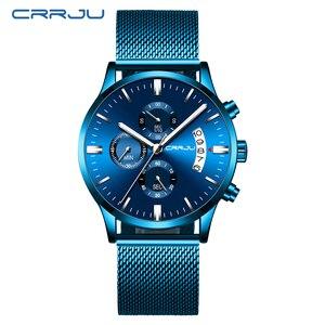 Image 2 - Relogio Masculino CRRJU جديد العلامة التجارية الفاخرة ساعة الذكور موضة ساعة كورتز العارضة الرجال الفولاذ المقاوم للصدأ الأزرق مقاوم للماء ساعة
