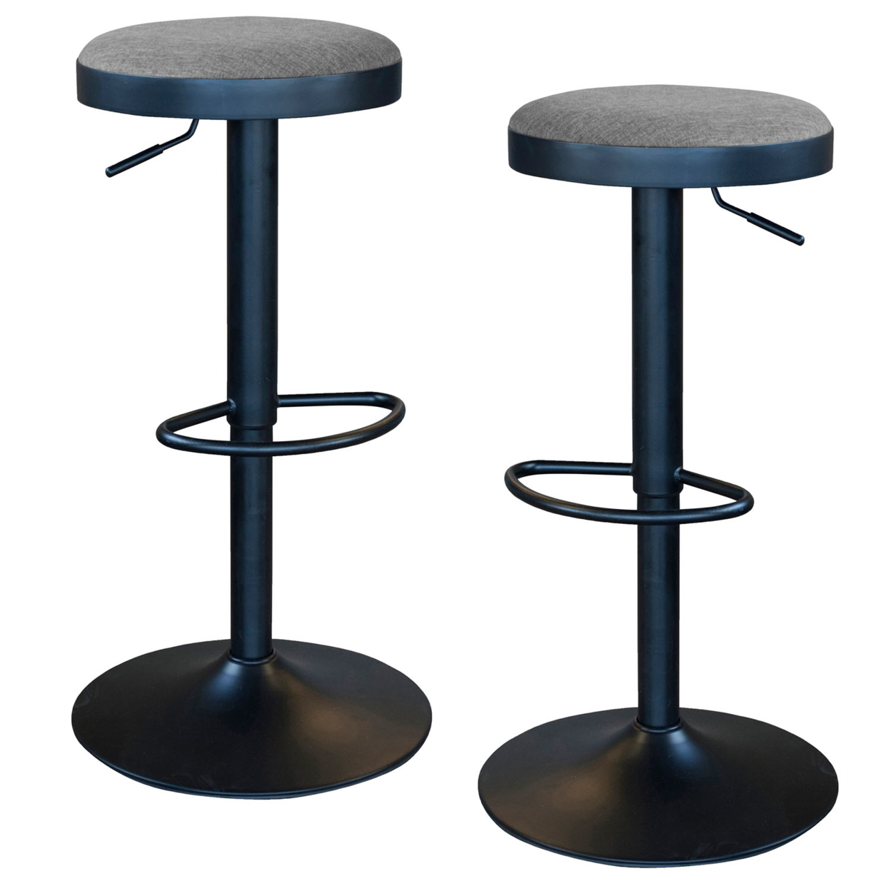 AmeriHome Classic Charcoal Gray Fabric Bar Stool Set
