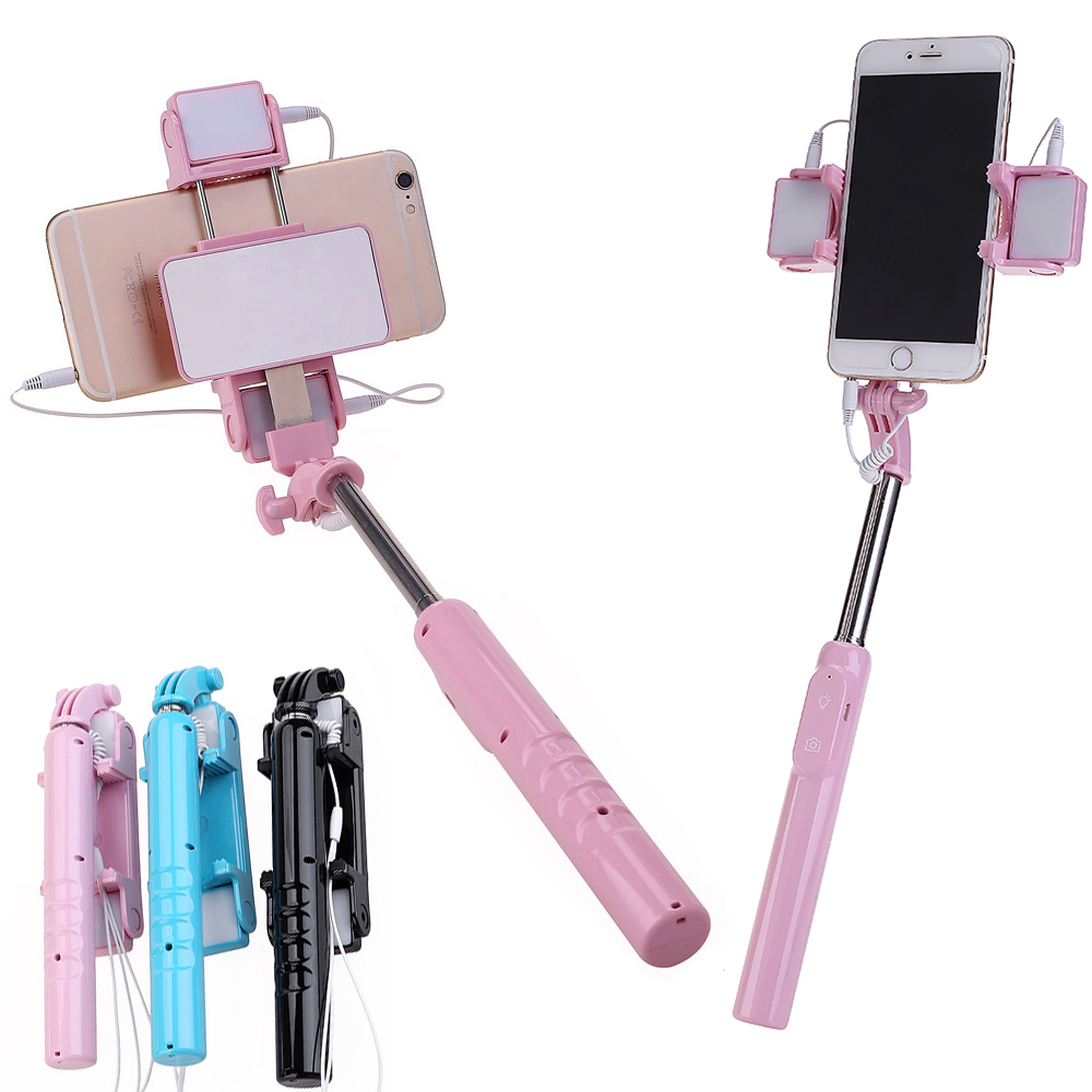 Mini Espelho Extensível Handheld Monopé Com Fio Selfie Vara com luz de preenchimento de LED para Celular Iphone 5 6 6 s 7 samsung Xiaomi Android