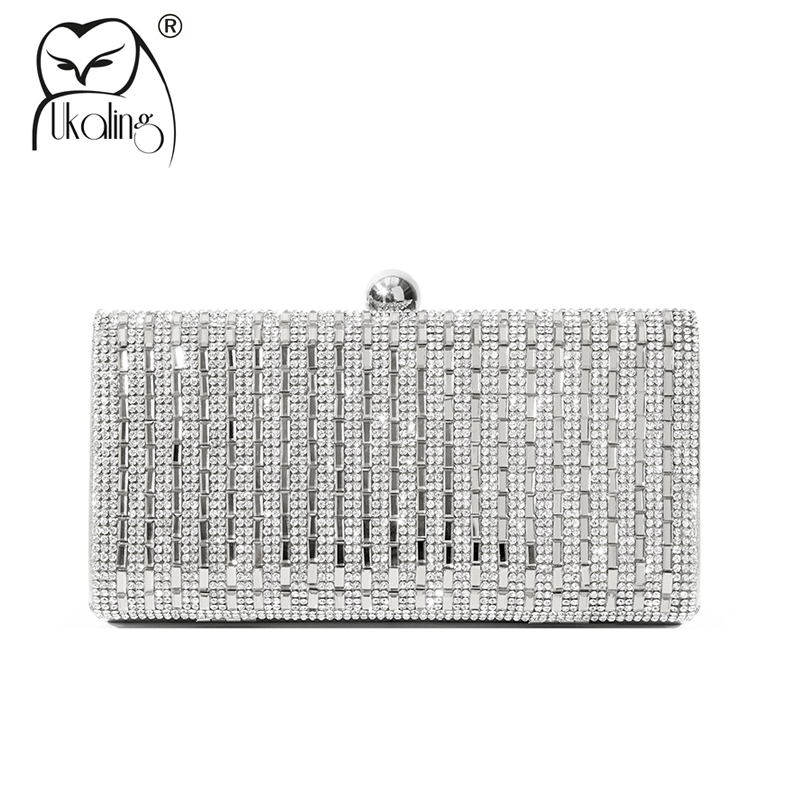 UKQLING Brand Luxury Diamond Evening Bag Party Banquet Women Clutch Bag with Chain Female Wedding Clutches Purses High Quality newest design evening bags ring diamond clutch chain shoulder bag purses wedding party banquet bag blue gold green red 88621 d