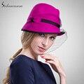 100% шерсти от австралийский колокол сексуальный сетки Sinamay шляпы дамы формальное шляпа леди фетровая шляпа в женских Fedoras FW103031