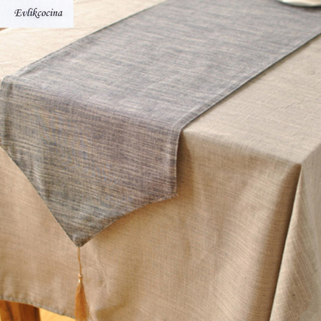 Free Shipping Navy Blue Table Runner Linen Cotton Corredor De Mesa Solid Color Tafelloper Azul Caminos