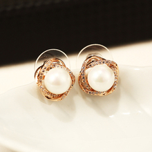 New Mother Pearl Earrings 925 Female Round Zircon Silver Earrings anti allergy  Big Zircon Pearl Earrings Party Gifts For Women