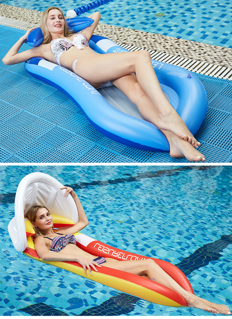 Inflatable Floating Row Chair Lounge Pool Floats Beach Single Air Mattress for Swimming Water Sports Floating Sleeping Bed Chair (4)