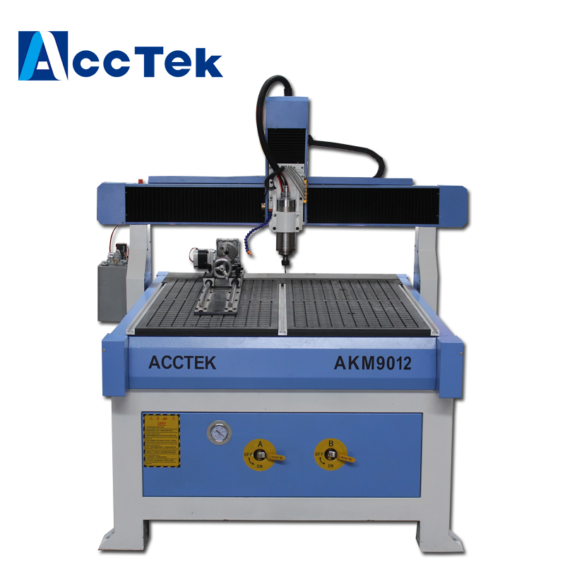 Acctek 4 Axis Cnc Router 9012 , Small Cnc Wood Cutting Machine With Water Cooling Spindle