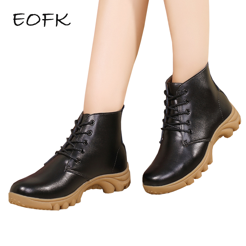 EOFK Women Ankle Boots With Short Plush Women's Casual Boots Split Leather New Warm Winter Shoes Woman Fashion Lady Shoes Female