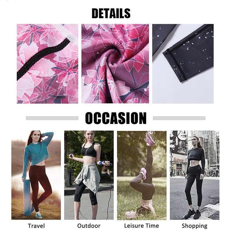 ผู้หญิงฟิตเนสกางเกงโยคะสูงเอวกีฬา Leggings GYM Elastic โรแมนติกพิมพ์กางเกงขาสั้นสำหรับวิ่ง Tummy Control