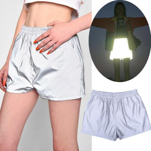 New Cool Female Shiny Reflective High Waist   Shorts   Elastic Band Sports Casual with Pocket Slip Surface Flashing Hot   Shorts