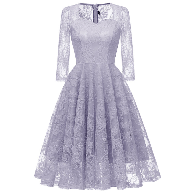 Vintage Three Quarter Length Wedding Dresses: Classic Evening Dress With Lantern Sleeve Three Quarter A