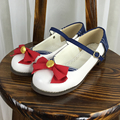 Japan's New Lolita With Low Bow Shoes Badge Navy Students All-match Leisure womens flats shoes single shoes student cosplays