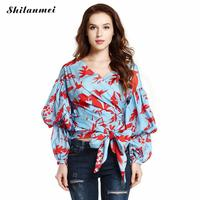 Cross Knot Women Long Sleeve Blouses Streetwear Assorted V Neck Shirt Turn down Collar Loose Leaf Flowers Pattern Robe Free Size