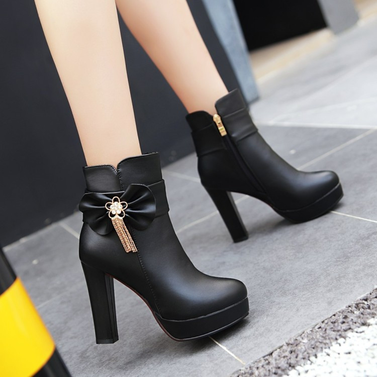 19_2016 Autumn Korean Womens Pink Dress Booties Shoes Princess Bow High Heels Black And White Platform Ankle Boots For Winter