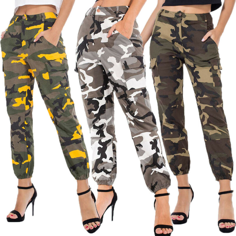 Women's Camo Cargo Trousers Casual Pants Military Army Combat Camouflage Pants Elastic Waist Casual Sweatpants Plus Size