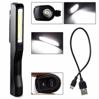 Hot Mini Pocket Penlight Rechargeable COB LED Work Light Rotated 180 Degrees Magnetic Pen Clip Hand