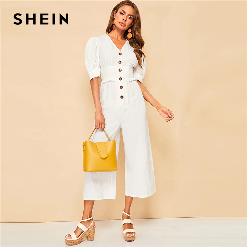 SHEIN Elegant Beige Button Front Puff Sleeve Frill Wide Leg Jumpsuit Women V Neck High Waist 2019 Solid Office Lady Jumpsuits