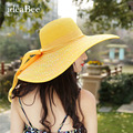 Ladys Tide Visor Tourism Beach Hat Sunscreen Straw Hat Women's Big Brim Sun Hat Anti-UV 2016 Cute Girl Bow Visor
