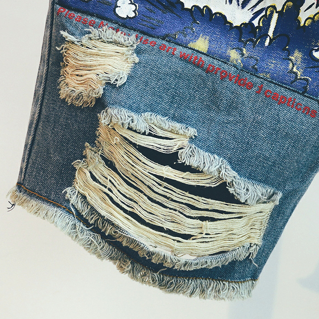 2020 Hot New Arrival Print Light Robin Jean Shorts Men Ulzzang Summer Pattern Knee Length Zipper Fly Mid Weight Jeans Dsq Mens 5