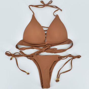 2018 Hot Bikini Sets Women Sexy Lace Up Multi Strings Brazilian Bathing Suits Swim Wear Thong Bikini Hollow Out African Swimwear 5