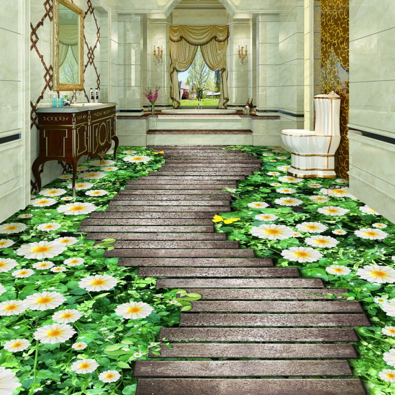 Free Shipping 3D stereo Flowers trees board path floor painting Self-adhesive bathroom flooring aisle wallpaper mural flame trees of thika