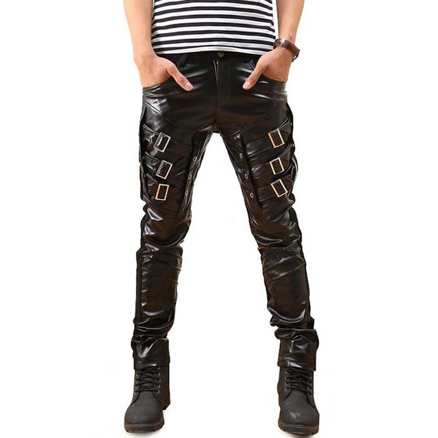 hot sale Mens Gothic Punk Faux Leather Pants PU Buckles Hip Hop Applique Black Trousers Male Motorcycle pants Pencil pants