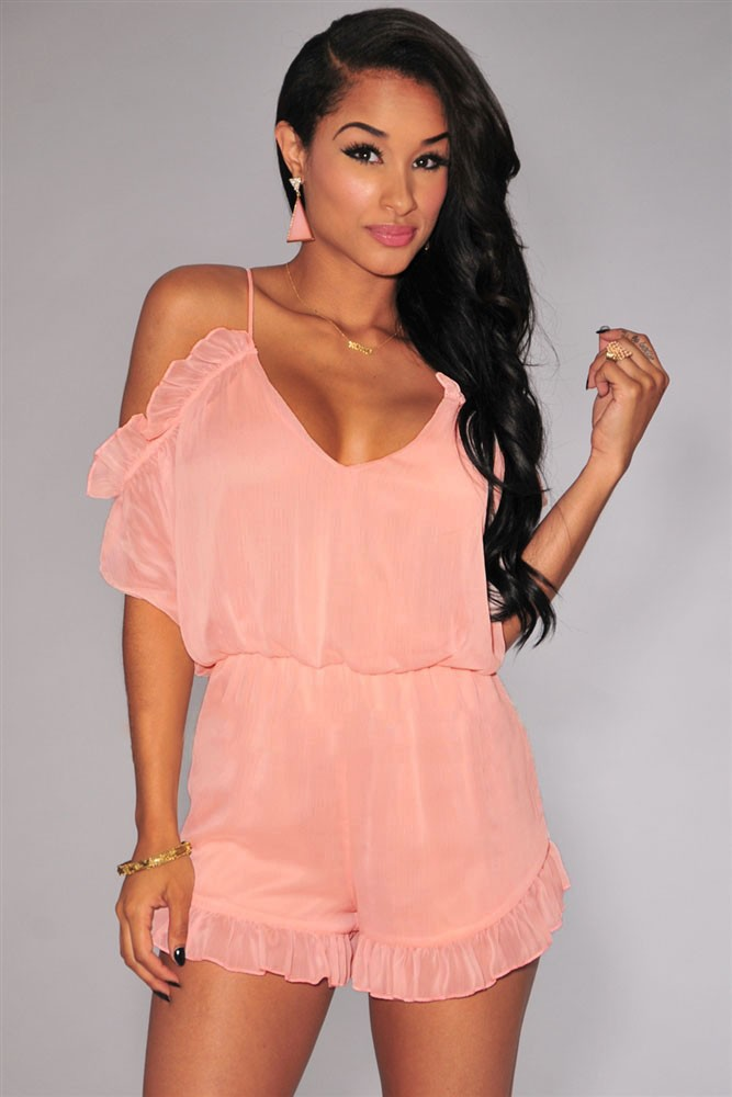 Pink-Ruffle-Off-The-Shoulder-Romper-LC60275-1
