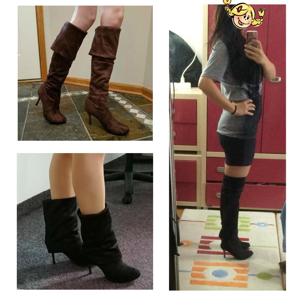 Hot koop fashion lange laarzen voor vrouwen nubuck leer sexy - Damesschoenen - Foto 4