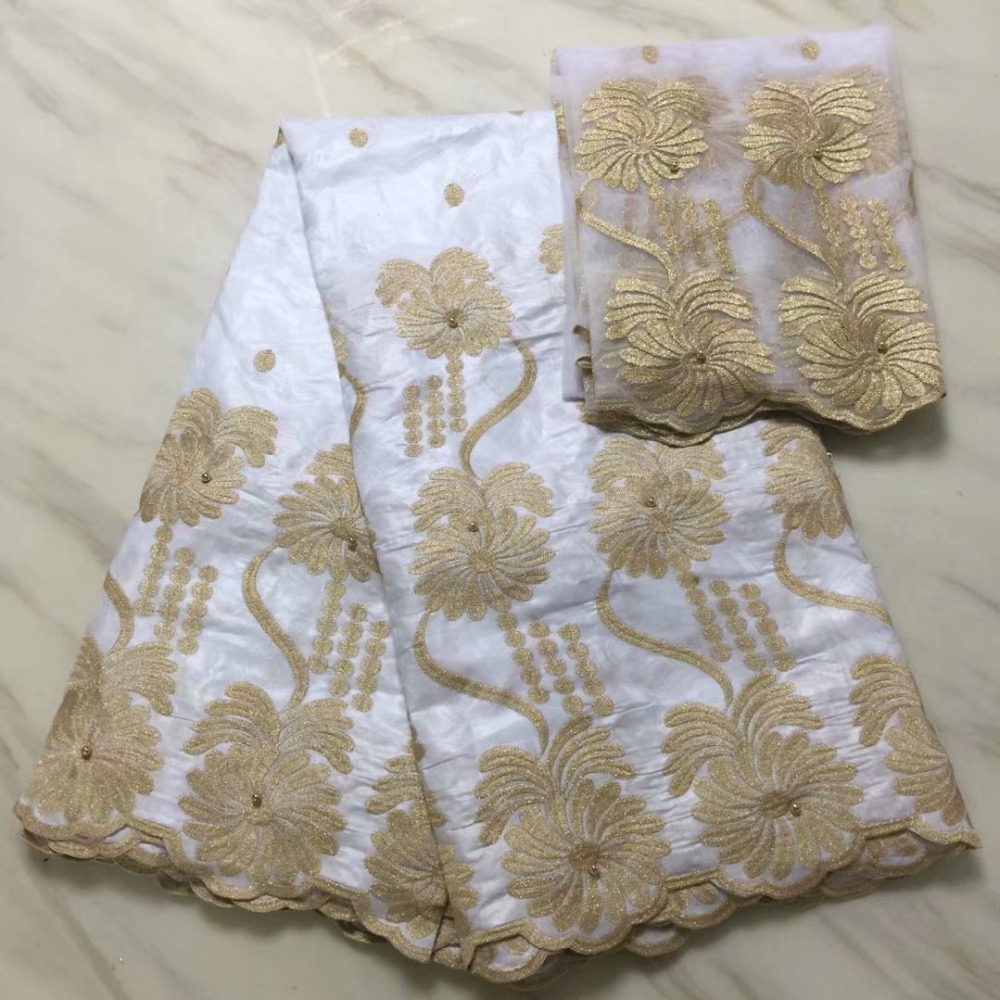 5+2 Yards Africa Bazin Riche Getzner Lace Fabric 2018 With Blouse white Color Beaded Gold Line Embroidered Lace Basin Fabric-in Lace from Home & Garden    1