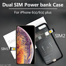 2019 New Bluetooth Dual SIM Dual Standby Adaper Ultrathin Long Standby for iPhone 6(s)/6(s) plus with 1500/2300 mAh Power Bank(China)