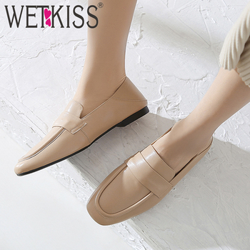 WETKISS Genuine Leather Flats Women Loafers Shoes Woman Square Toe Mules Shoes Female Fashion Casual Shoes Ladies Autumn 2019