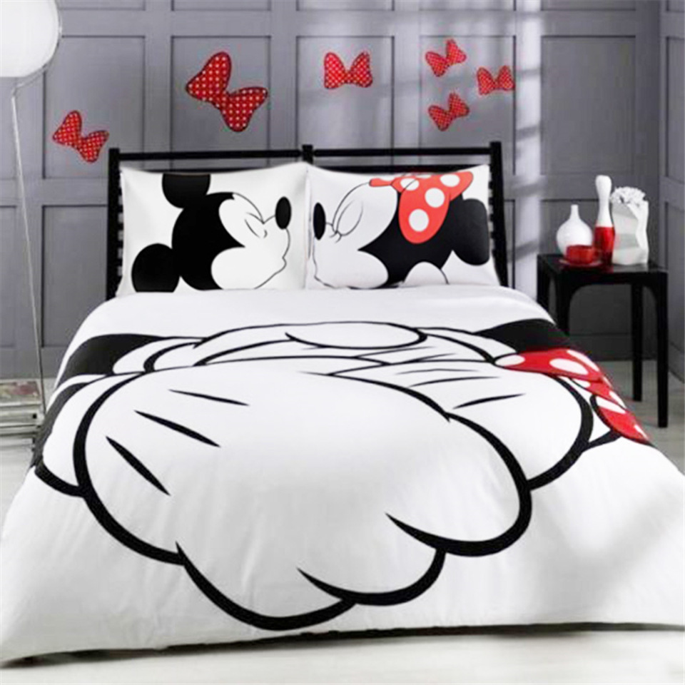 Disney Set Bed-Linen-Set Duvet-Cover King-Queen Black White Mickey Minnie Full-Twin-Size