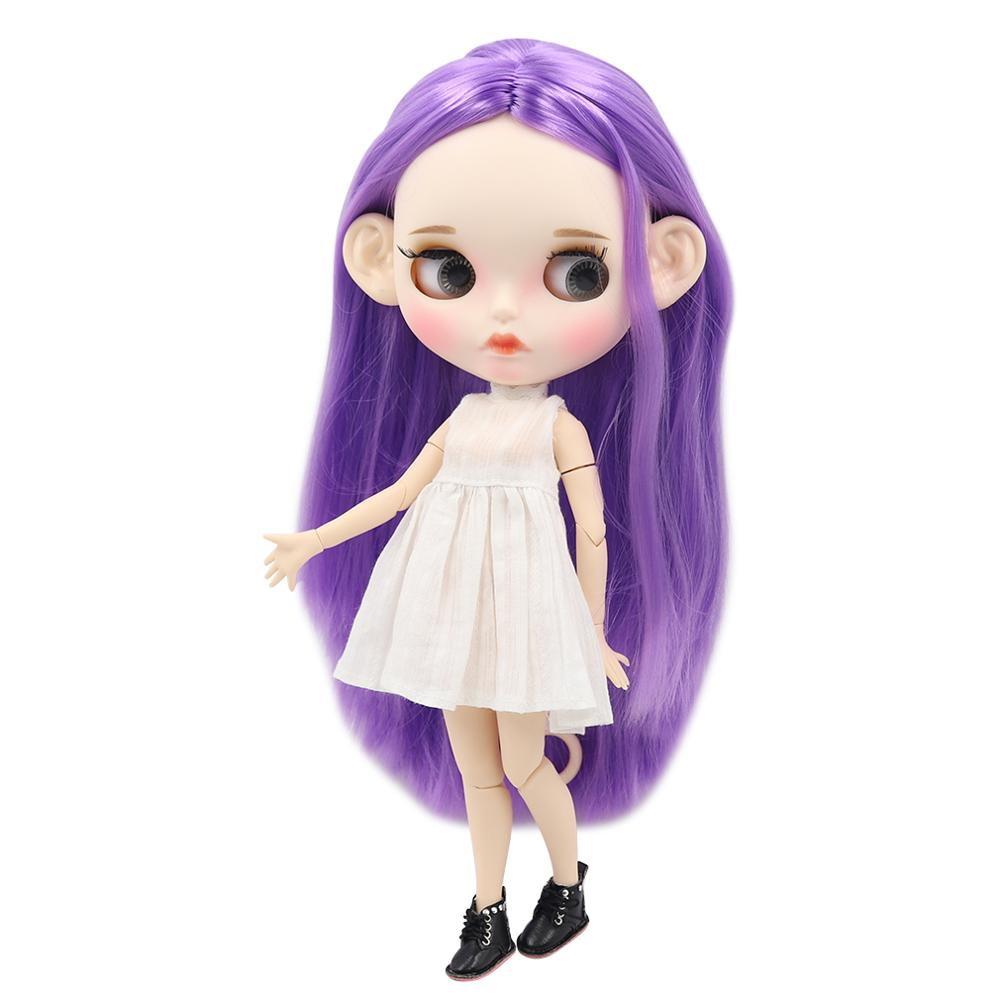 ICY factory blyth doll 1 6 bjd white skin joint body purple hair new matte face
