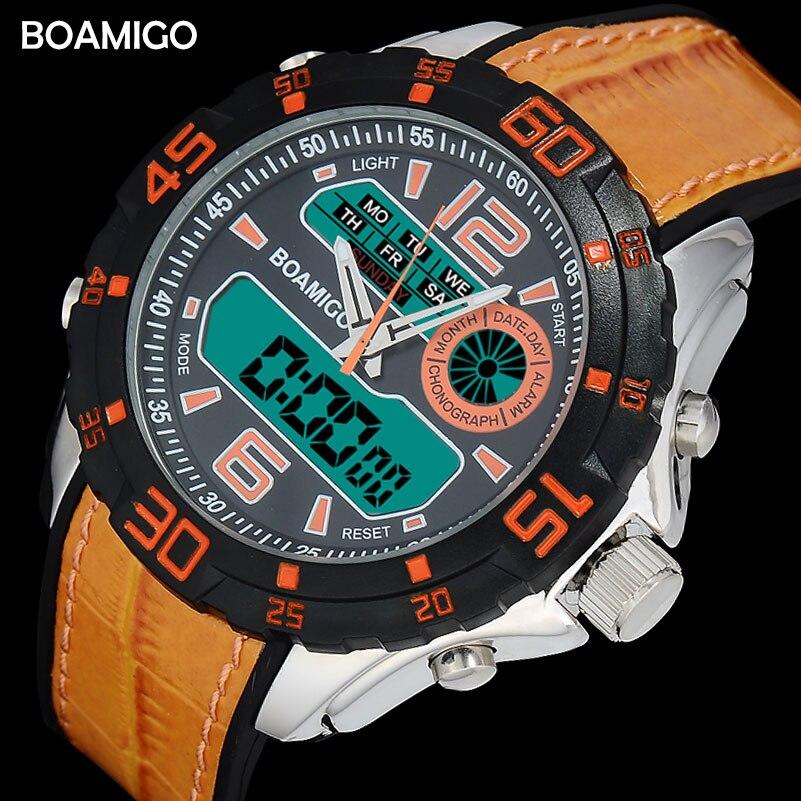 Degli uomini di sport orologi uomini doppio display cinturino in gomma BOAMIGO marca 2017 orange uomini analogico digitale led OROLOGIO da polso 30 m impermeabile