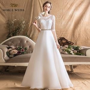 Image 5 - Женское ТРАПЕЦИЕВИДНОЕ простое свадебное платье, сексуальные свадебные платья до пола с поясом, свадебное платье с кружевом