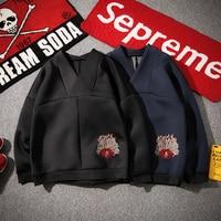 4XL 5XL Stamens Embroidery Pure Color Neoprene Hoodie Sweatshirt Men Oversized Pullover Top Plus Size Japan