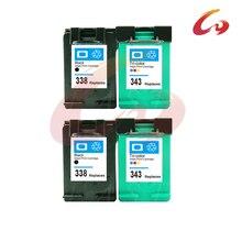 4 шт. Картридж Для HP 338 для HP 343 C8766E картридж для C8765E для DJ 6540/6620/6840/PSC 1500/1510/1600/1610