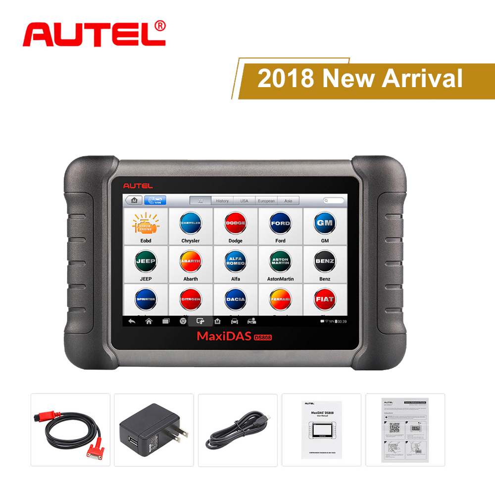 Autel Maxidas DS808K OBD2 Scanner Car Diagnostic Tool  Automotive Scanner OBDII key coding same as Maxisys MS906  Code Reader