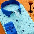 Весной и летом мужская clothing печати рубашка мужчины с длинным рукавом бизнес случайный тонкий длинными рукавами рубашки работы носить