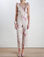 Sexy Women Strap Jumpsuit Flax Floral Print Ruffles Sleeveless Slim Jumpsuits Office Lady Work Cloth and Holiday Casual Bodysuit