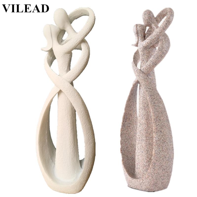 VILEAD 23cm Sandstone White Kissing Lover Figurines Wedding Decoration Anniversary Souvenirs Vintage Home Decor Christmas Gift